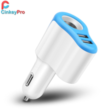 CinkeyPro 2-Port USB Car Charger for iPhone iPad Samsung Lighter Car-charger 5V/2A Charging Mobile Phone Charger Adapter