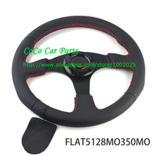 Flat Style 350mm Racing Steering Wheel Universal Car Steering Wheel Suede/Leather/Carbon Fiber Look