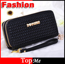 Fashion women wallet double zipper cards ID holder good quality soft PU leather lady money coin purse wholesale clutch wallets(China)