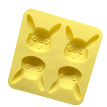 4 Holes New Eco-Friendly Cartoon Pikachu Silicone Cake Mold Creative Animation Character Silicone Pudding Jelly Mold E491