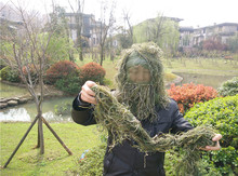 Hunting grass type Sniper tactical camouflage headvie hood cap and Rifle rope for Ghillie Suit hunting cloth(China)