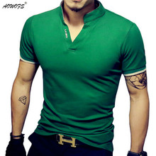 Men's V Neck T Shirt(China)