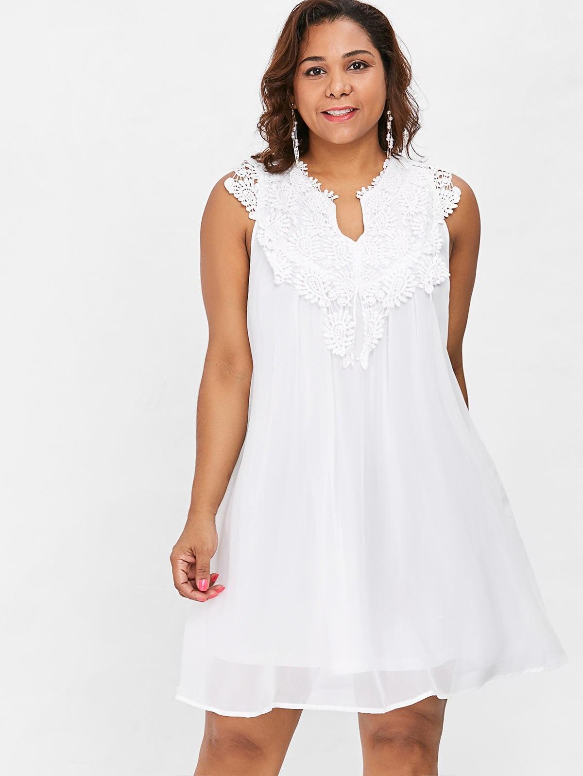 Wipalo Plus Size Crochet Panel Babydoll Dress Women V-Neck Hollow Out Lace  Spliced Mini A Line Chiffon Dress Vestidos 5XL