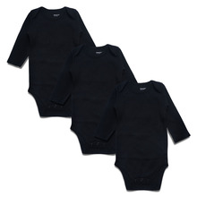 Newborn Baby Bodysuit Black 3 Pack 100% Cotton Long Sleeve Place Unisex Baby Bodysuits 100% Cotton Boys Girls 0-24 Months(China)
