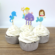 24pcs Ocean Style Party Theme Hippocampus Mermaid Party Supplies Cartoon Cupcake Toppers Pick Kid Birthday Party Decorations