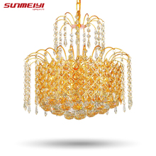 2017 Gold Crystal Chandelier Lamp Luxury Crystal Fixture Lights Lusters de cristal Chandeliers Ceiling For Living Room(China)