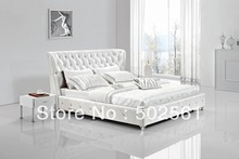 contemporary King size Queen white modern genuine leather soft sleeping bed diamond tufted crystal bedroom furniture China