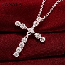 Buy FANALA Necklace Women Choker Fashion Women's Shinny Silver Plated Crystal Cross Pendant Necklace Sweater Chain Jewelry for $1.07 in AliExpress store