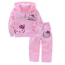 Baby Girls Hello Kitty Suits Outerwear Long Sleeve Hooded Sweater+Pants Children Autumn Coat Kids Suit Clothes Free Shipping