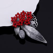 JUJIE Gray Stone Flower Brooch For Wedding Bouquets Lapel Pins Brooches Fashion Rhinestone Brooches Plant Jewelry Dropshipping(China)
