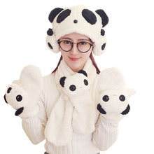 Winter warm plush Panda Scarf with hat and gloves Swag elephant and cute yellow chick Toys for Children Gifts(China)