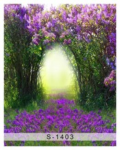 Customize washable wrinkle free archway purple flowers photography backdrops for kids photo studio portrait backgrounds S-1403