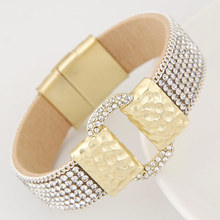 LEMOER Luxury Sparkling Full Rhinestone Belt Buckle Leather bracelets & bangles Wide Magnetic Statement Wristband Pulseras Mujer