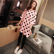 NEW Spring Women's nightdress Big Dot Indoor Clothing pure cotton wearing loose Home Suit Sleepwear Long sleeve Trousers Pajamas