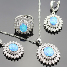 925 Logo Australia Blue Opal Jewelry Set For Women Silver color Rings/Earrings/Necklace/Pendant For wedding party(China)