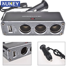 XUKEY 3 Way Car Cigarette Lighter Socket Splitter DC Power Charger Adapter + USB Port 12V Triple Sockets