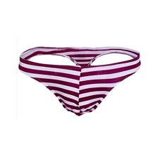 Buy Sexy Mens G-String Underwear Stripe Briefs Bikini Men Jockstraps/Gay Penis Pouch Thongs Solid Low Waist Breathable Underpants