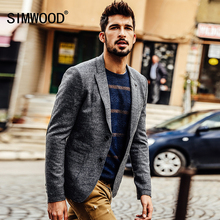 SIMWOOD 2017 New Autumn Winter fashion casual blazer men masculino fashion coats slim fit XZ6101(China)