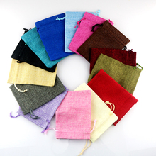 Custom Jute Bags Wholesale 20pcs/lot Natural Color Handmade Drawstring Gift Bags Jewelry Cosmetic Tea Packaging Bag Plain Pouch