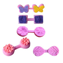 Flower Butterfly Silicone Mold Sugarcraft Embossed Fondant Cake Decorating Tools Fimo Clay Candy Jelly Chocolate Gumpaste Molds(China)