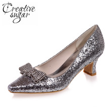 Creativesugar Comfortable low heel 3D metallic silver gold glitter party prom night club red carpet shoes pointed crystal bow(China)