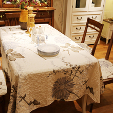 New leaves printed cotton Square rectangle embroidery Tablecloth table cloth dinner mat Mat table cover wholesale FG256-4