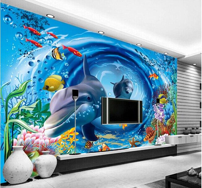 Custom papel DE parede infantil large murals 3 d underwater world for children room living room TV wall vinyl  papel DE parede <br><br>Aliexpress