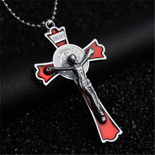2017 New Biker Stainless Steel Necklace Big Cross Titanium Gold Skull Crucifix Jesus Pendent Necklace For Gift(China)
