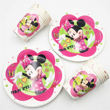 20pcs/set Plate/Cup Minnie Kids Birthday Decoration Party Supplies For Boys/Girls Minnie Mouse Party Supplies Party Favors(China)