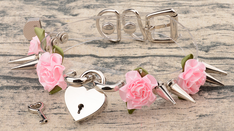 Lolita Cute Girl 100% Hand Crafted Silver Gold Spiked Lock Heart Collar With Key Rose Flowers Spikes Choker Transparent Necklace 10