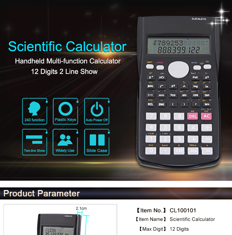 EASYIDEA Scientific Calculator 12 Digits Student Calculadora 240 Multi-function Calculator Cientifica 2 Line LCD Display 1