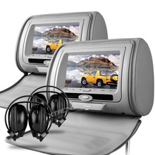 "XTRONS Gray Monitors 7"" HD Digital Screen zipper Car Headrest DVD Player USB FM Game Disc Remote Control +2 IR Wireless Headsets(China)"