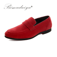 BIMUDUIYU Luxury Brand Men Shoes Italy Fashion Design Loafers Male Shoes Slip-on Party Wedding Dress Oxfords Scrub Casual Shoes(China)