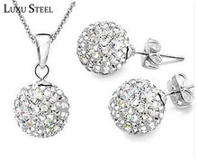 LUXUSTEEL Shamballa Jewelry Sets (earrings and pendant) Without Chain Wholesale Price 18 Colors Choose Stud Earrings Women Gift