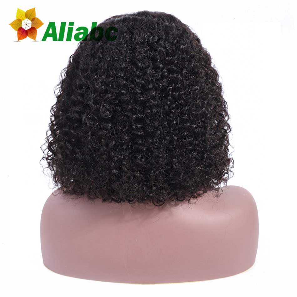 Aliabc Hair Bob Wigs Brazilian Lace Front Human Hair Wigs For Black Women Natural Color Remy Kinky Curly Short Lace Front Wigs(China)