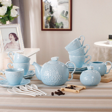 15pcs Dinnerware Sets Japanese-style Ceramic Coffee Cup and Saucer Sets Bone China Coffee Cup Coffee Pot Relief Package(China)