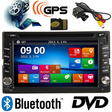 6.2 inch TFT 2 Din Car DVD Player GPS MP5/MP4 USB/SD Bluetooth FM/AM Radio Car Audio With Free Rear View Camera TF Card 8GB MAP