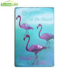 Endless Summer Flamingo Poster Vintage Home Decor Tin Sign Bar\Cafe\Hotel Wall Decor Metal Sign Retro Painting Metal Plaque