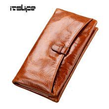 New Fashion 100% genuine leather women's wallet first layer of cowhide big capacity purse for women zipper coin purse wristlet(China)
