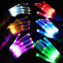 1pair Colorful LED Light Finger Lighting Flashing Gloves Unisex Cool Skeleton Gloves for Party Clubs Halloween Christmas Xmas