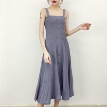 Women's Classic Vintage Knit Sweater Dress Casual Evening Party Sleeveless Ukraine Halter SummerTank Jumpers Long Dresses