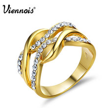 Viennois New Gold Color Multilayer Size Rings For Women Rhinestone Paved Twisted Design Finger Ring Female Party Jewelry(China)