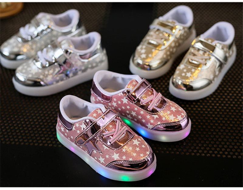 Children Shoes With Light Up 17 Star Printed Unisex Led Light Kids Baby Girls Boys luminate Sneakers Size 21-30 2