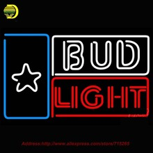 Bud Light Star Beer Light Neon Sign Hand Craft Decoration Neon Bulb Glass Tube Art Design Real Neon Sign Attract Bright VD 31x20(China)