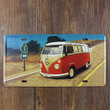 VW ROAD BUS CAR LICENSE PLATE Vintage Tin Sign Bar pub home KITCHEN Wall Decor Retro Metal Art Poster
