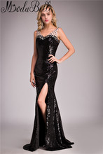 Modabelle Sexy Black Sequins Long Leg Slit Dress Prom 2017 Floor Length Mermaid Prom Dresses Beaded Special Occasion Dresses