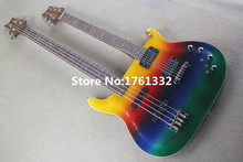 2016 popular factory custom double neck colorful 6 strings electric guitar and 4 strings bass,bird inlay,can be changed