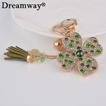 four leaf clover key chain lucky crystal plant keychains living keychain tassels fashion design chinese style free shipping