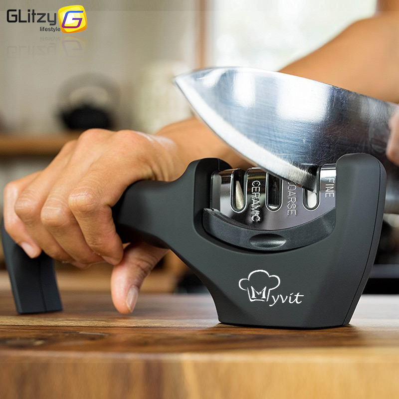 Knife Sharpener Grinder Knives-Whetstone Tungsten Diamond Professional Kitchen 3-Stages title=