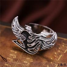 J Store Anime Fairy Tail Logo Metal Rings Angel Wings Rotatable High Quality Cosplay Men Jewelry for Fan Accessories Gift